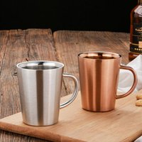 Wholesale Tea Cup Portable - Double Layer 304 Stainless Steel Rose Gold Silver Mugs Anti-hot Portable Travel Outdoor Coffee Mug Tea Cup ZA4659