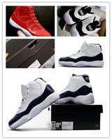 tecido preto marinho branco venda por atacado-Nike Air Jordan Retro Shoes 2017 moda Concord 11s Win Como 96 Atacado Espaço Jam 11 UNC Midnight Azul Marinho branco preto Ginásio Vermelho Com caixa de tênis de basquete