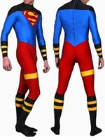 Wholesale Spandex Full Body Suit Skin - Full Body Lycra Spandex Skin Suit Catsuit Party Costumes Superboy Zentai Halloween Party Cosplay ZenTai suit