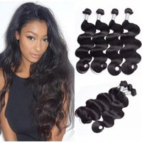Wholesale Head Human Hair Extensions - Brazilian Body Wave 4 Bundles Full Head 100% Unprocessed Virgin Remy Human Hair Weaves Extensions Natural Black Color