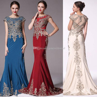 Wholesale Little Bride Dresses Sleeves - real photos vintage mermaid evening dresses 2018 Arabic Dubai heavily embroideried dresses mother of the bride dresses evening formal gowns