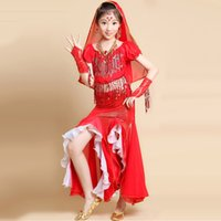 Wholesale Yellow Dance Costumes - 2016 New Girls Costume For Belly Dance Red Rose Yellow Kids Indian Dance Costumes 2pcs 5pcs Belly Dancer Dancewear DQ2004