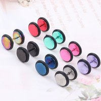 Wholesale Ear Expander Cheater - Unisex Stainless steel Fake Ear Plug Tunnel Stretcher Ear Expander Expansion Stud Earrings Cheater piercing jewelry 100Pcs mix colors