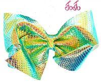 Wholesale Change Hair - HOT magic Metallic Color bowknot leather 5inch jojo Holographic Mermaid Hair Bow with clip Hair Bow Color Change Dance Cheer Bow 6pcs