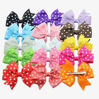 "Wholesale wholesale baby hairclips - Baby grosgrain spot bow Hair Bows Clips pinwheel polka dot bows 15 Colors 3"" hair bows hairclips for girls toddler girl hair accessories"