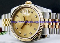Wholesale Champagne Gems - Lxury WATCH Fashion Watch Mens 36mm Gold & SS Champagne Sunburst 116233 SANT BLANC Wristwatch Diamond wrist watch