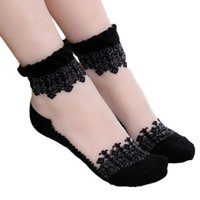 Wholesale Hot Womens Transparent Black - Wholesale-Hot sales Colorful Ultrathin Transparent Beautiful Crystal Lace Elastic Short Women Socks Calcetines Pink Sock for Womens meias