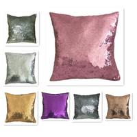 office decor color toptan satış-Mermaid Sequins Pillowslip Ev Ofis Kanepe Süslemeleri Için Yastık Yatak Odası Dekor Yastık Kılıfı Çok Renkli 7 5ht C R Kapakları