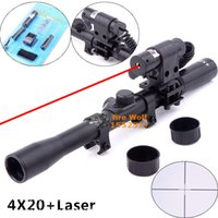 Wholesale Hunting Laser Riflescope - 4x20 Air Gun Rifle Optics Scope Caza Tactical Riflescope +20mm Rail Mounts +Red Dot Laser Sight For Hunting Airsoft Supplies
