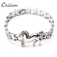 Wholesale Stainless Steel Horse Jewelry - New fashion high quality stainless steel jewelry silver plating chain animal bracelets for women running horse charms bracelet fit gifts