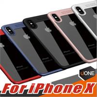 carcasas de iphone de silicona dura al por mayor-Para el caso de iPhone X, PC + TPU de silicona híbrido Ultra-Thin carcasa de protección dura parachoques de absorción de choque completo para el iPhone X 8 8Plus