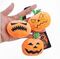 Wholesale Video Game Favors - Halloween plush Pendant toys Pumpkin Ghost Emoji Halloween Emoji Party Supplies Favors Bags Car Key Ring Pendant KKA2244