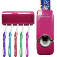 Wholesale toothbrush holder toothpaste dispenser - Wall Mounted Automatic Toothpaste Dispenser With Five Toothbrush Holder Set Bathroom