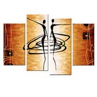 yağlı boya güzel kızlar toptan satış-4 Resim Kombinasyonu Dans Kadınlar Soyut Yağlıboya Moda Duvar Dekoratif Tuval Üzerine Güzel Kız Bale Dans Yağlıboya