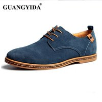 Wholesale- Men shoes 2017 New Fashion Suede Leather shoes Homens Casual shoes oxfords para Primavera Summer Dropshipping