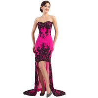 Wholesale Hilo Prom Dresses - charming black red Lace appliques Long Hilo Prom Dresses 2016 cheap short front long back prom gown dress sweetheart Mermaid dress