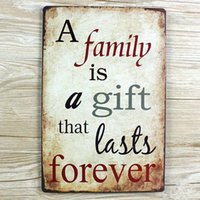"Wholesale Cafe Picture - Wholesale- wall pictures NEW TIN Signs "" A family is a gift that lasts forever "" Retro decoration Cafe bar Vintage Metal painting 20X30CM"