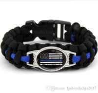 Wholesale Police Flags - Black Blue THIN BLUE LINE American flag BACK THE BLUE POLICE Paracord Survival Outdoor Camping Bracelet for Women & men Girlfriend