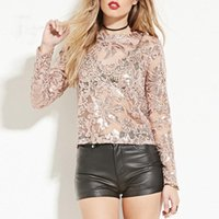 Wholesale See Through Long Blouse - Embroidered long sleeve see through blouses for ladies fashion sequined pink blouses for womens green sexy sheer tops summer trendy tops