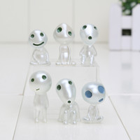 Wholesale Diy Decoration Accessories - Japan cartoon anime Luminous Princess Mononoke Kodama Tree Spirit Action figure Toy terrarium Decoration DIY Accessories 6pcs