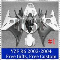 Wholesale R6 Custom Plastic - Fairing kits for Yamaha YZF R6 2003 2004 ABS plastic Motorcycle Fairing 2003-2004 YZF R6 White black Custom Painting Motorcycle Fairing