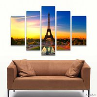 Wholesale Eiffel Wall Decor - 5 Panel Eiffel Tower Painting Wall Art Canvas Prints Wall Paintings for Bedrooms Home Decor Unframed