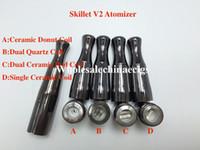 Wholesale Drip Coil Atomizer - Puffco Vaporizer Skillet V2 Atomizer Quartz Wax Vaporizer Ceramic Donut Dual quartz Coil Gun Metal Color Metal Drip Tip for 510 battery