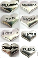 Wholesale Gifts For Grandpa - Wholesale-wholesales 10pcs mix Grandma Grandpa Dad Mom Brother Sister Daughter Friend Floating Locket charms for locket as Christmas gift