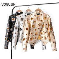 ceketler n ceketler toptan satış-Toptan-VOGUE! N Yeni Bayan Bayanlar Moda Hollow Metal Dekorasyon Suni Deri Biker Kulübü Ceket Kısa Coat Siyah Gümüş Altın