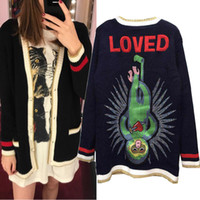 Wholesale new style long winter sweater - 2017 New Autumn Winter Women Knitwear V-neck Pearl Button Knit Cardigan Sweater Coat Female Monkey Embroidered Letter Back Coat