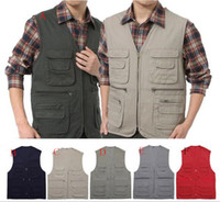 Wholesale Men Vests Cotton Outdoor - 2016 Outdoor sports men Gear Hiking fishing Pockets Vests Movie Photography Director Producer Multipockets zipper Waistcoat Outerwear Coats