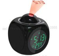Wholesale Alarm Clock Temp - Multifunction Vibe LCD Talking Projection Alarm Clock Time & Temp Display New MYY