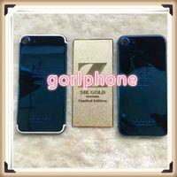 zurück gehäuse design großhandel-100% echt zg 24ct glänzend goldblau für iphone7 plus OEM angepasstes design gehäuse back door fall OEM 24 Karat vergoldet diamant mittelrahmen