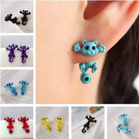 Wholesale Cat Earrings For Girls - fashion Cat Earrings for Women Girls animal earring earing Puncture Ear Stud ear ring Piercing earings Jewelry wholesale Free Shipping new