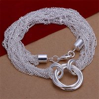 Wholesale Three Hearts Fashion Necklace - Hot sale many line three ring necklace sterling silver necklace STSN264,wholesale fashion 925 silver Chains necklace factory direct sale