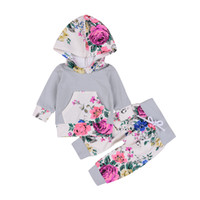 Wholesale baby clothing outfits for sale - Mikrdoo Baby Autumn Floral Clothes Set Kids Boy Girl Long Sleeve Hoodie Top Cotton Flowers Pants Suits Fashion Tracksuit Outfits
