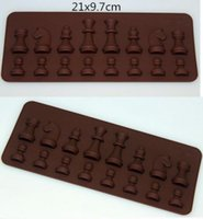 Wholesale silicone chocolate shapes tray resale online - New Arrive Cavity Chess Shaped Ice Chocolate Sugar Cake Silicone Mini Cube Tray Chess
