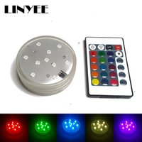 100pcs / lots Colorful Waterproof LED Underwater Light 10leds RGB Swimming Pool Light Pool de LED submersível com 20 Keys Remote Controller