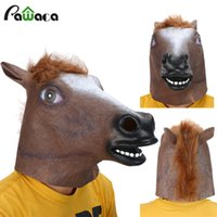 Wholesale Realistic Animal Costumes - Horse Head Mask Creepy Fur Mane Latex Realistic Mask Full Face Silicone Crazy Mascara Creepy Party Halloween Adult Costume Mask