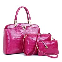 Wholesale Crocodile Embossed Handbags - high quality embossed crocodile pattern fashion 3 pcs set composite bag woman lady purse designer handbag