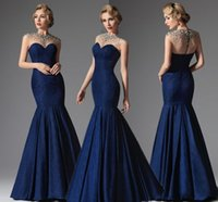 Wholesale Elegant Dark Navy Cap Sleeveless - 2016 Elegant Dark Navy Mermaid Formal Evening Dresses O Neck Sheer Crew Neck Cap Sleeveless Crytals Beads Prom Gowns Cheap