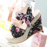 Wholesale wedge ankle strap platform sandal - New Women Shoes Female Sandals Summer Wedges Women's Sandals Platform Lace Belt Bow Flip Flops Open Toe high-heeled 11 cm