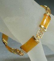 ingrosso braccialetti di giada gialla-2016 nuovo di Pechino, braccialetto di giada Cina Giallo Giada Golden Fortune Emolument Longevità Fortuna Link Braccialetto di collegamento