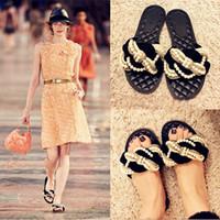 Wholesale Black Beaded Flip Flops - European Luxury Summer Shoes Woman Slip On Flip Flops Flat Heel Beaded Gladiator Sandals Women Brand Beach Sandals Slippers CR13