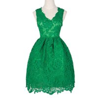 Wholesale High Quality Charming Light Pink - 2016 Charming Green Homecoming Dresses Vintage Lace V Neck Sleeveless Short Prom Party Gowns Cheap High Quality Custom Made