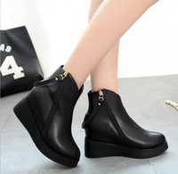 Ankle Boots black wedges booties - Women Faux Leather Ankle Boots Designer Fashion autumn winter women boots wedges high heels shoes woman Inside Heighten Short Booties Knight