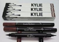 Wholesale Double Side Black Color - Kylie Double-end Waterproof Double Sided Liquid Eyebrow Pen Eyeliner Eye Liner Pencil Makeup Cosmetic Tools Black+Brown 2 in 1