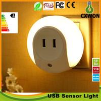 Wholesale Sensor Lighting Bedroom - Multifunction LED Night Light with Light Sensor and Dual USB Wall Plate Charger Smart Design Light for Bedrooms AC100-240V to 5V 2A