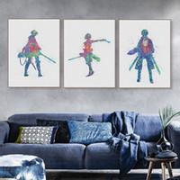 ingrosso grandi pitture di tela per arredamento casa-Acquerello Animazione giapponese Attack on Titan Canvas Big Art Poster Stampa Pitture murali a parete Soggiorno Home Decor No Frame