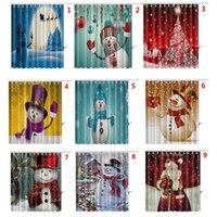 Wholesale Curtain Printing - 165*180cm Christmas Shower Curtain Santa Claus Snowman Waterproof 3D Printed Bathroom Shower Curtain Decoration With Hooks Free DHL WX9-108